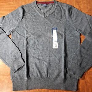 V Neck Sweater Long Sleeve 100% Cotton Blue Men Sm